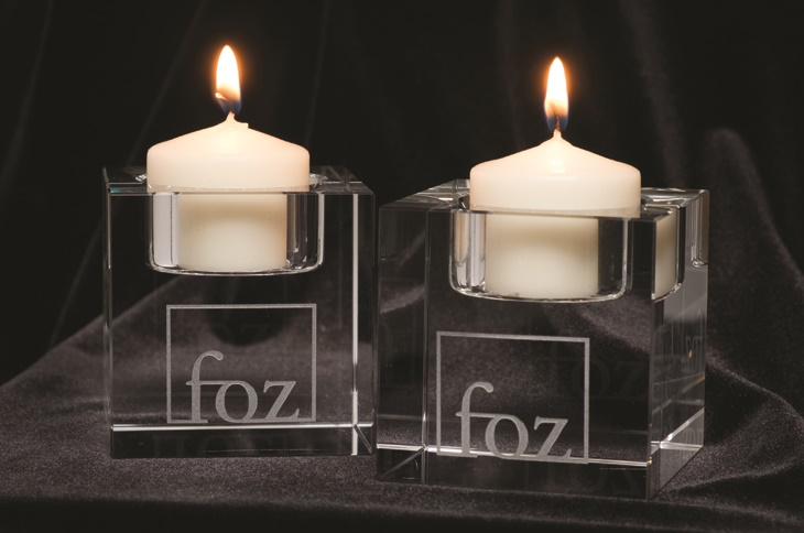 Crystal Block Tea Light Candle Set (of 2)